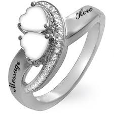 mothers rings 2 stones s heart shaped birthstone and diamond accent sweeping