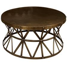 round cocktail table brown gold metal round coffee table with