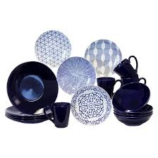 baum bros stoneware 16pc dinnerware set blue white target