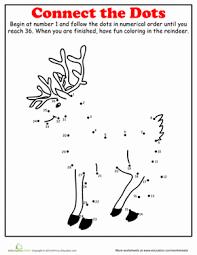 christmas dot dot reindeer worksheet education
