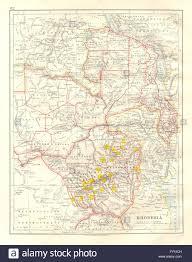 Zimbabwe Map Rhodesia Goldfields Yellow Zambesia Zambia Malawi Zimbabwe