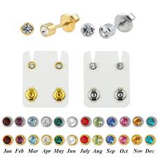 studex earrings pair surgical steel birthstone cz ear stud earrings studs studex