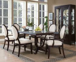 oriental rugs wooden dining set with 6 armchairs white fabric seat