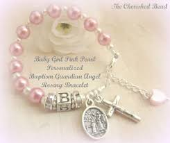 baby rosary bracelet baby girl personalized pink pearl guardian angel baptism
