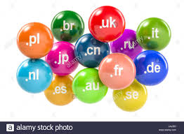 set of colored balls with country code top level domain names 3d