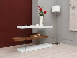 Modern White Office Table Modrest Sven Contemporary White U0026 Walnut Desk U0026 Shelves Desks