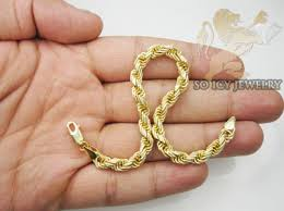 gold bracelet rope images Mens 14k hollow yellow gold rope bracelet 6mm 8 inch jpg