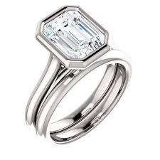 bezel set engagement ring 2 53 ctw bridal set emerald cut bezel set engagement ring