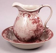 Red Vases And Bowls Red Toile Pitcher And Bowl Countryside Castle Scene Toile