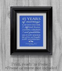 45 year anniversary gift 45th anniversary gift parents sapphire blue personalized
