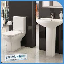 trim modern 4 piece toilet u0026 semi pedestal basin set plumbworkz