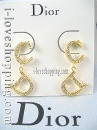 cd earrings d68881 gold swarovski cd logo earrings limited edition