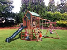 Playground Sets For Backyards by Sportspower Timber Play Ii With Balcony Swing Set
