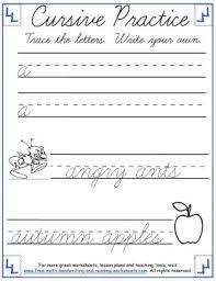 cursive handwriting practice lowercase a f