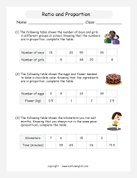 complete the ratio proportion tables of each problem great grade