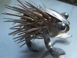 the humble forkupine silverware metal sculpture welded art 38 00