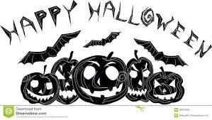 happy halloween black and white postcard stock vector image