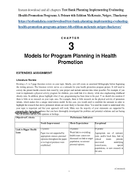 test bank planning implementing evaluating health promotion