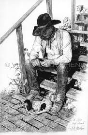 a dogs best friend western pencil drawing by virgil c stephens