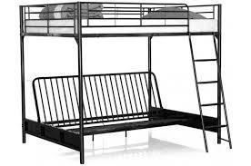 lit superposé avec canapé lit mezzanine avec banquette convertible intégrée noir 140x190 mezzi