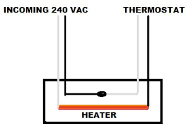 wiring 240 volt baseboard heater with wall mounted thermostat
