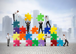 business people puzzles building hd wallpaper