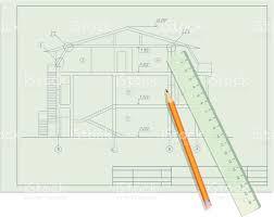 arquitecto boceto blueprint de casa con lapiz y una regla arquitecto boceto blueprint de casa con lapiz y una regla illustracion libre de derechos libre