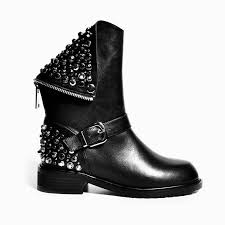 motorcycle booties black ankle studded rocker punk motorcycle booties leather