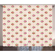 shabby chic curtains 2 panels set roses damask pattern botanical