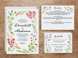 wedding invitation set printable wedding invitation set watercolor flowers e m papers