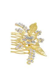 hair broach leaf design gold plated hair brooch