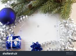Christmas Tree With Blue Decorations - blank christmas card blue decorations fir stock photo 54282829