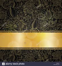 black and gold ribbon gold floral pattern on black background with golden ribbon and