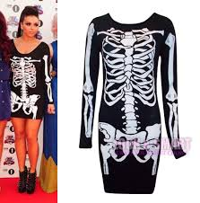 Ladies Skeleton Halloween Costume by Womens Ladies Halloween Bones Skeleton Print Bodycon Dress Size Uk