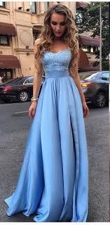 light blue silk dress long prom dress appliques prom dresses evening dres blue