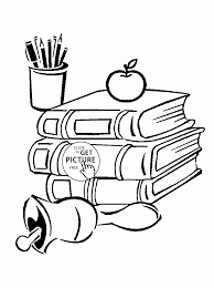 books and supplies coloring page for kids back to
