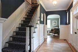dining room navy wallpaper with small hallway ideas and carpet