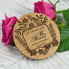 Wooden Wedding Gifts Spring Wedding Engraved Wooden Coaster Personalized Favors