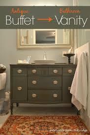 repurposing our dining room buffet into a bathroom vanity hometalk