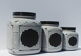 grey kitchen canister set with chalk board label chalk paint