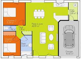 plan de maison plain pied 3 chambres plan de masse de maison avec 3 chambres salon cuisine et salle à