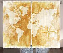 brown curtains 2 panels set old fashioned world map home decor ebay