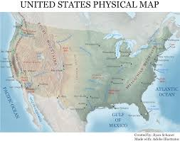 Printable Map Of Usa Geography Blog Physical Map Of The United States Of America