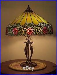Antique Handel Desk Lamp Antique Leaded Stained Slag Glass Arts U0026 Crafts Unique Handel