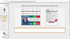 eshop gift cards adding funds to nintendo wii u eshop