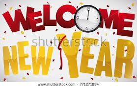 new years streamers banner with confetti streamer clock and greeting message giving