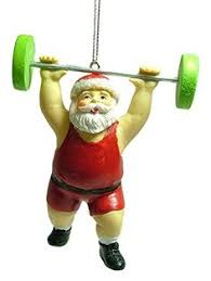 get buff santa weightlifting exercise ornament 4