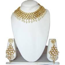 Buy Kundan Embellished Dangler Earrings Buy Kundan Pearl Drops Gold Choker Necklace Dangler Earrings Set