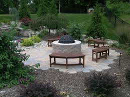 Patio Firepits Patio Small Backyard Pits With Brown Wooden Benches On