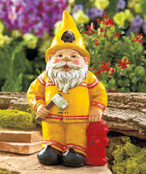 Gnome Garden Decor Fireman Firefighter Novelty Gnome Statue Outdoor Garden Yard Lawn